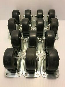 Lot Of 14 Wagner 3 Heavy Duty Casters Plate Mount Furniture Garage Home Wheels