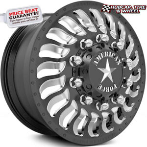 American Force Spec 24 x8 25 Black Dually Wheels set Of 6 forged