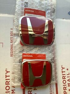 06 11 Honda Civic 2dr Coupe Jdm Red H Type R Front Rear Emblem 2pcs Set Ex Si