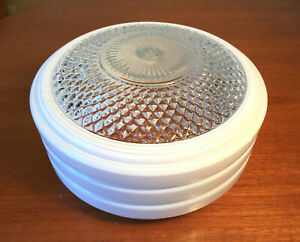 Vintage Mid Century 1950s Art Deco Flush Mount Ceiling Light Shade Milk Glass