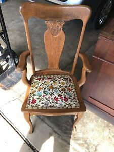 Antique Sikes Solid Wood Oak Arm Chair Spring Seat
