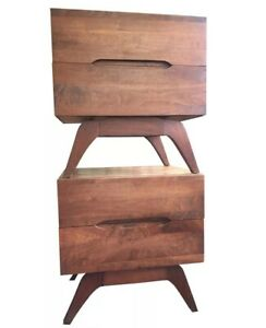 Mid Century Modern Nightstands Pair Solid Wood Vladimir Kagan