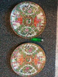 2 Antique 19th C Chinese Canton Famille Rose Figural Medallin 9 8 5 Plate