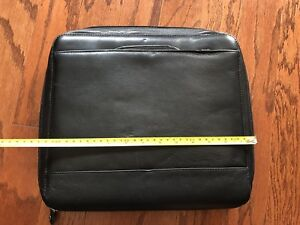 Franklin Covey Planner Black Zippered Briefcase Leather Nice
