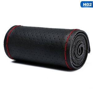 Fullhole Black Red Real Leather Car Steering Wheel Cover With Needles And Thread