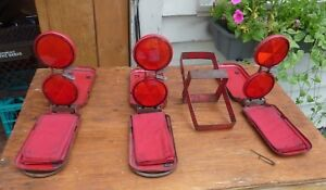 Vintage Signal Stat Reflector Flare Set Of 3 Emergency Refectors Flags