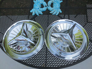 2 Ford 1957 1958 1959 Fairlane Thunderbird T Bird Custom Flipper Hubcaps 14