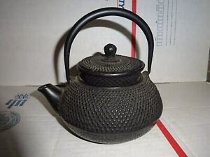 Japanese Cast Iron Tetsubin Nail Point Kettle Teapot Signed With Warmer