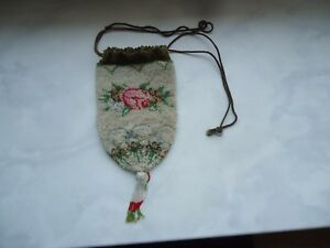 Antique Glass Beads Hand Embroidered Very Old Victorian Original Purse Bag 1900