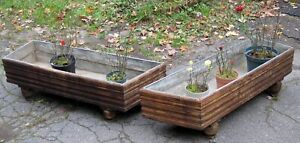 Pair Lge Vtg Victorian Wood Zinc Plant Stand Planters 48 Early 20th Century