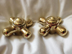 Vintage Brass Sink Tub Faucet Handle Hot Cold Colored Rings 2 1 2 W