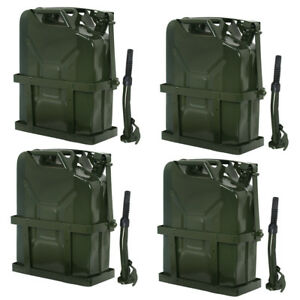 4x Jerry Can 5 Gallons 20l Gas Gasoline Fuel Steel Tank Holder Emergency Backup