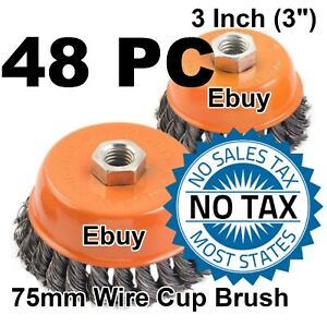 48 Wire Cup Brush 3 75mm For 4 1 2 115mm Angle Grinder Twist Knot Hoteche
