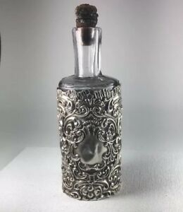 Antique 1907 Sterling Silver Repousse Sleeve Perfume Scent Bottle Size 4 5