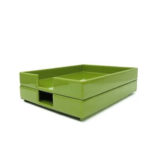 Pottery Barn Stackable Set Of Tray Desk Office Organizers Green Lacquer
