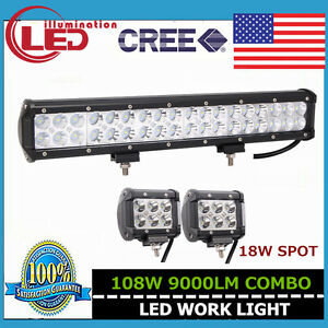 17 Inch 108w Combo Led Work Light Bar For Atv Tractor Offroad 2x 18w 4 Lights