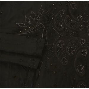 Sanskriti Vintage Black Saree Pure Silk Hand Beaded Craft Fabric Premium Sari