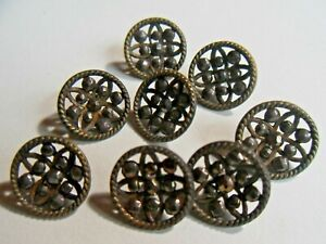 Antique Brass And Steel Rivet Dress Buttons Lot Of 8