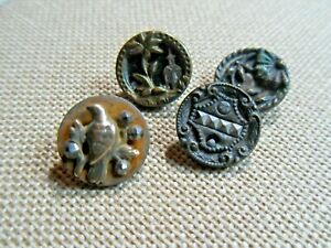 Victorian Tinnie Buttons Lovely Antique Lot With Embellishments