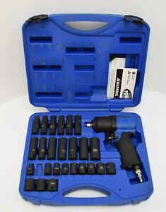 Cornwell Blue Power 1 2 Air Impact Wrench 25pc Metric Socket Set Cat4150 4 5