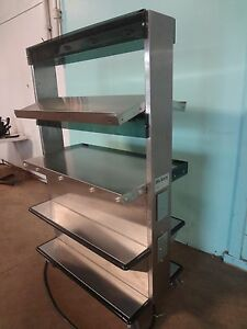 Commercial hickory Pedestal Warmer Display Case merchandiser Rack On Casters