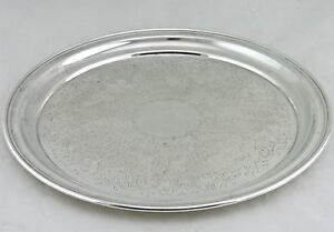 Vintage Silver Plated Serving Tray Round Classic Etched 12 A