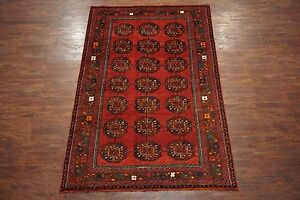 6x10 Antique Persian Bukhara Turkoman Hand Knotted Wool Area Rug 6 3 X 9 10