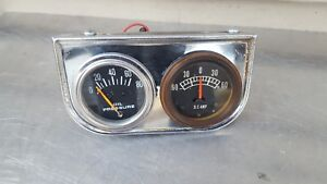 Vintage Pair Of Duel Mount Oil Pressure Amp Automotive Gauges With Back Light