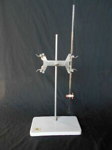Used 10 Ml Class A Kimax Buret Porcelain Stand G Clamp