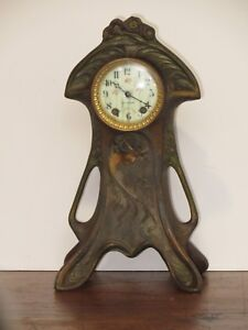 Art Nouveau Seth Thomas Clock Polychrome Bronze Case Excellent Working Condition