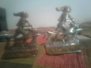 Vintage Bookends Indian With Dog Cast Iron Bronze Color