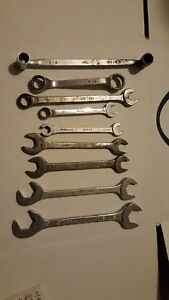 Mac Tools Lot Of 9 Assorted Wrenches Box Combination Open End Flare