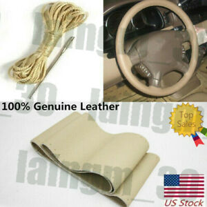 38cm Beige Genuine Leather Diy Car Steering Wheel Cover With Needles And Thread