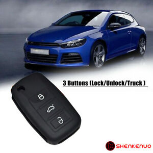 1pc Black Silicone 3 Button Key Fob Cover Case Skin Jacket Fit For Vw Volkswagen