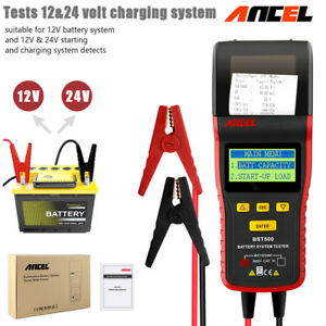 12v 24v Battery Tester Load Volt Digital Analyzer Diagnostic Tool With Printer