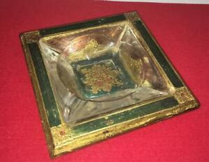 Vintage Italy Florentine Wood Toleware Ashtray Pin Tray Glass Insert Green Red