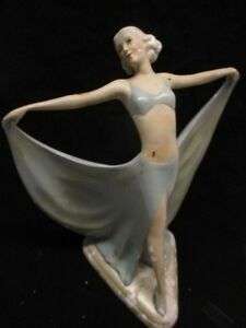 Art Deco Goldscheider Stefan Dakon Large Dancing Woman Girl Figurine Statue