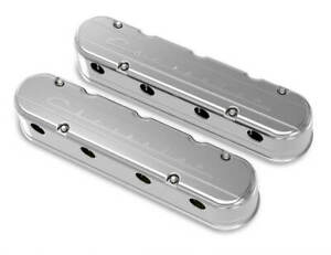 Holley 241 176 2 Pc Ls Chevrolet Script Valve Covers Polished Finish