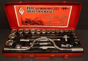 Acme Tool Sae 25 piece Socket Wrench Set 1 2 drive Six Point Metal Case