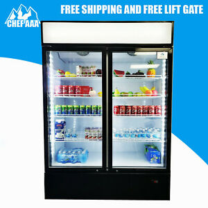 Double Door Two Glass Door Beverage Drink Refrigerator Cooler Bottom Mounted