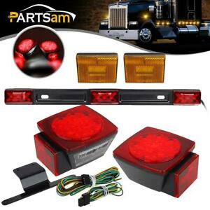 Submersible Trailer Led Light Kit stop Turn Tail license red 9 Led Id Bar Marker