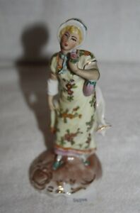 Thriftchi Dresden German Porcelain Victorian Lady W Flower Figurine
