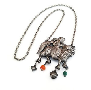 Antique Chinese Qilin Sterling Silver Charm Court Prayer Necklace