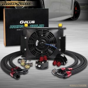 Universal 30 Row Engine Transmission 10an Oil Cooler 7 Black Electric Fan Kit
