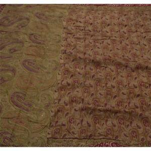 Sanskriti Antique Vintage Saree 100 Pure Silk Hand Beaded Fabric Cream Sari