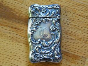 Antique Art Nouveau Floral Scroll Motif Sterling Silver Pocket Match Safe Vesta
