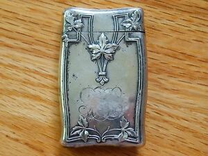 Antique Victorian Floral Leaf Line Sterling Silver Pocket Match Safe Vesta