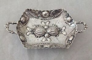 Antique Continental German 800 Silver Repousse Trinket Nut Dish Bowl High Relief