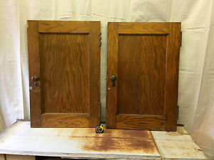 Ten Vintage Oak Closet Cabinet Doors With Hardware Salvaged Thick Small