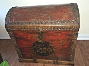 Continental Late 1700 S Wooden Dome Leather And Metal Trunk European